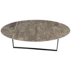 Salvatori Round Dritto Coffee Table Lithoverde® Gris du Marais by Piero Lissoni