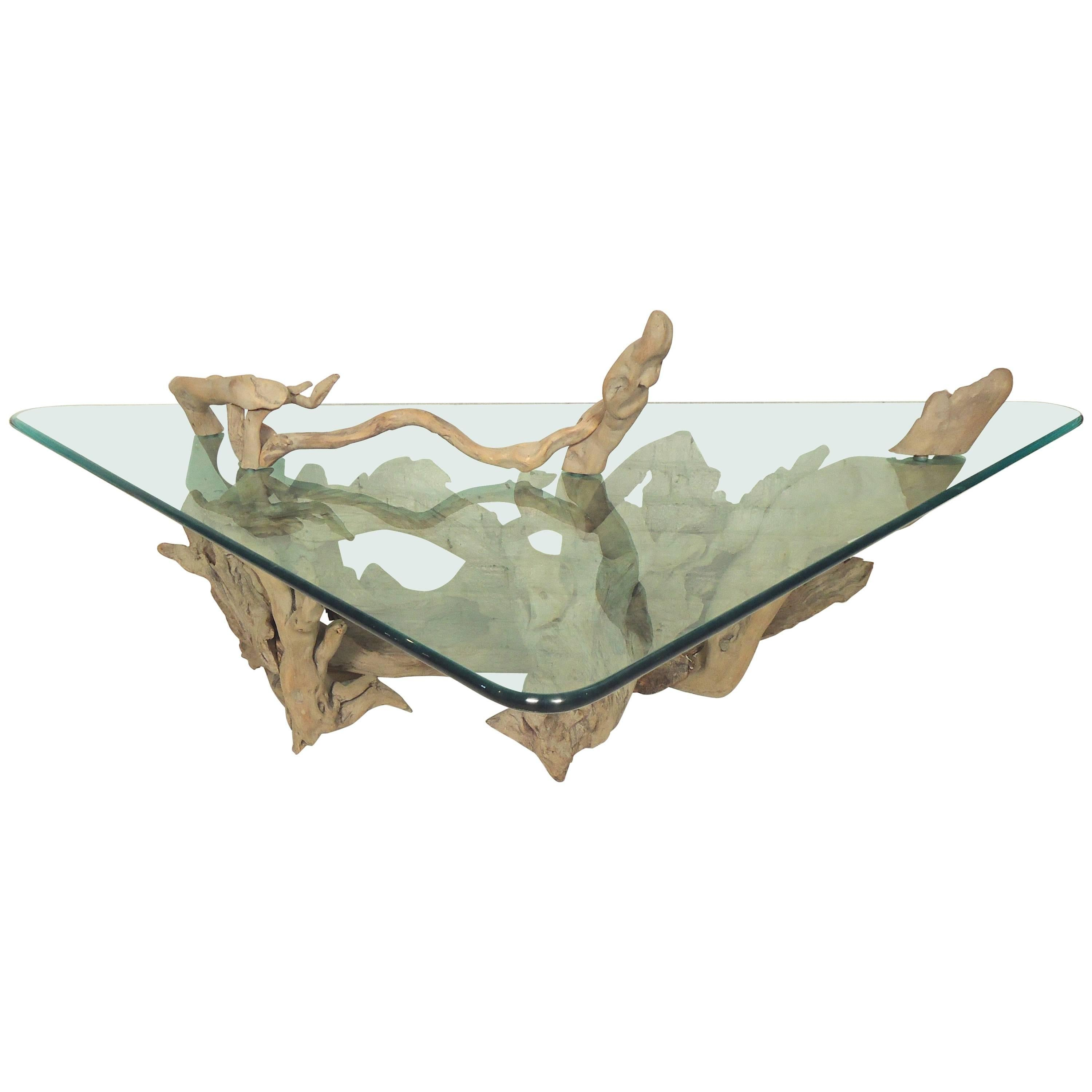 Unique Driftwood Glass Coffee Table For Sale