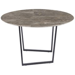 Round Dritto Side Table in Recycled Gris du Marais Marble by Piero Lissoni