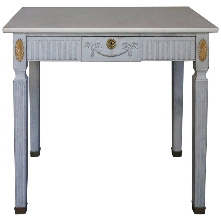 Marble-Topped Swedish Table