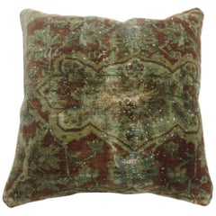 Distressed Mohtasham Kashan Rug Pillow