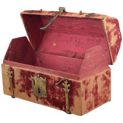 Chest Wood, Covered in Red Velvet, and Gold Iron, Spain, 16th Century