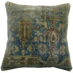 Mohtasham Kashan Border Rug Pillow in Soft Blue
