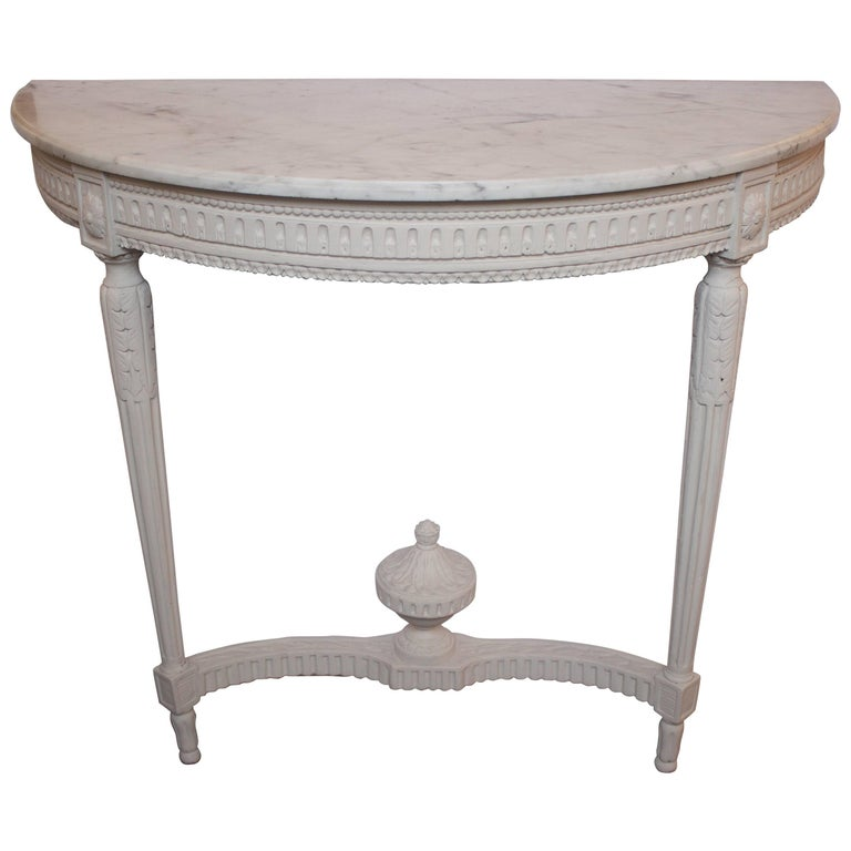 French Louis XVI Demi Lune Console with Marble Top