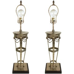 Pair of Neoclassical Style Table Lamps on Marble Base
