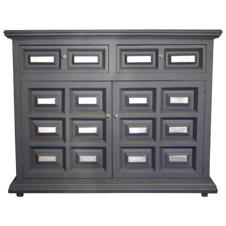 Gray and silver cedar wood credenza