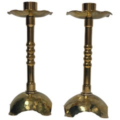 Pair of Arts and Crafts Brass Candlesticks, circa 1910