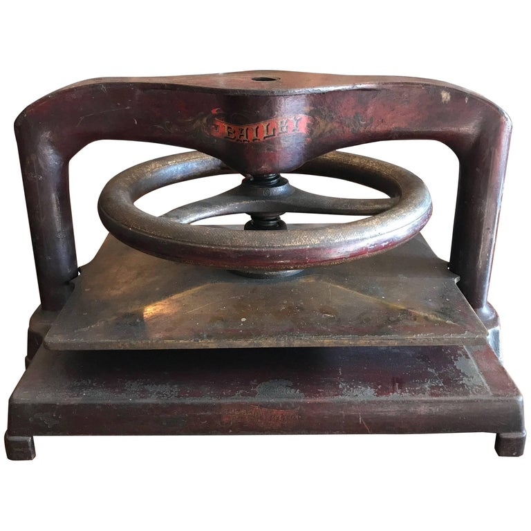 Large Hand-Painted Cast Iron Letter Copying Machine Book Press by Bailey For Sale