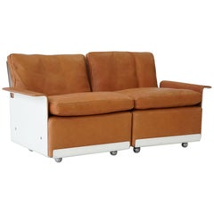 RZ 62 620 Modular Two-Seat Sofa in Leather by Dieter Rams for Vitsoe, 1960s