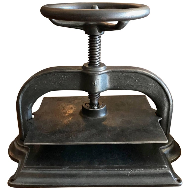 Late 19th Century Industrial Brushed Steel Book Press