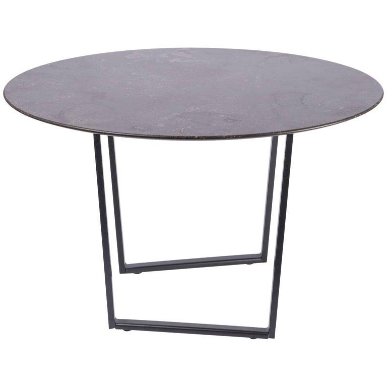 Salvatori Small Round Dritto Side Table in Pietra d'Avola Stone by Piero Lissoni