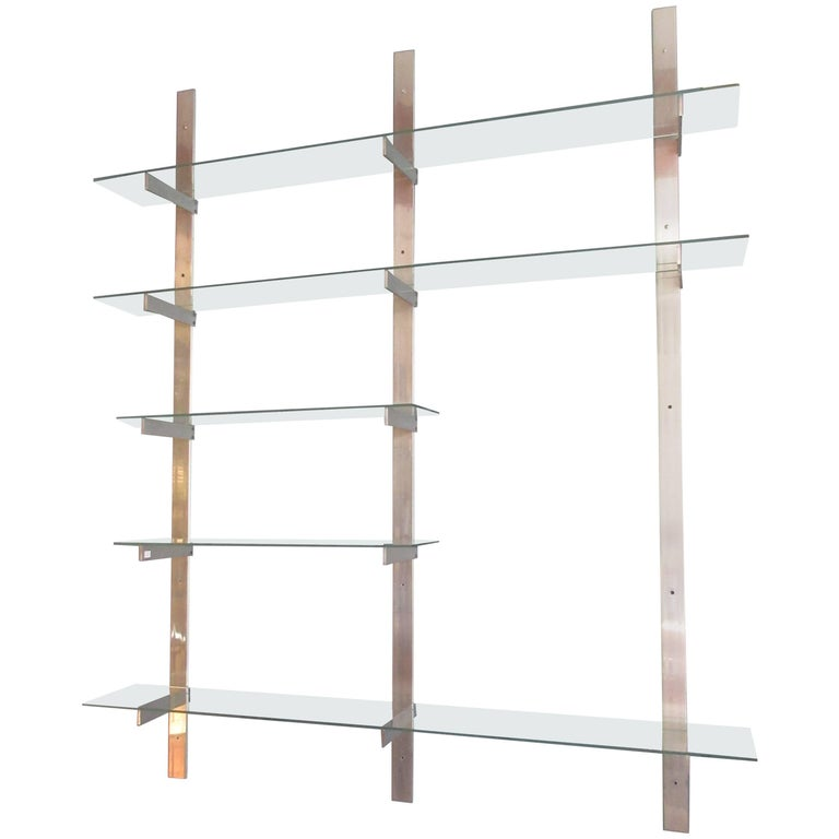 Aluminium and Glass Shelving Unit in the Style of Pace For Sale