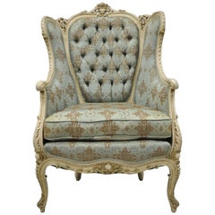 French Louis XV Provincial Style Bergere Chair Wingback Armchair Cream Painted