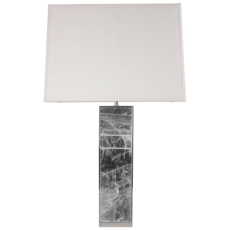 Emily Summers Studio Line Selenite and Stainless Steel Table Lamp