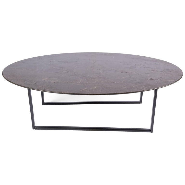 Salvatori Medium Round Dritto Coffee Table in Pietra d'Avola by Piero Lissoni