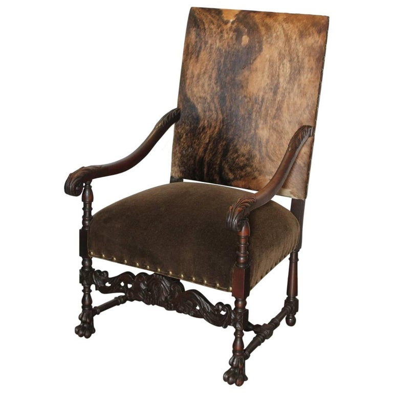 Spectacular 19th Century French Louis XIV Style Carved Walnut Armchair