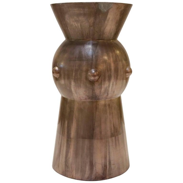 Modern Round Silvered Leaf Plaster Side Table or Pedestal