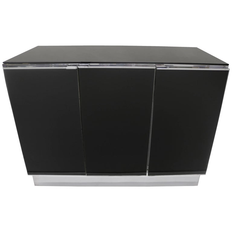 Little Chrome and Black Opaline Glass Credenza by Milo Baughman For Sale