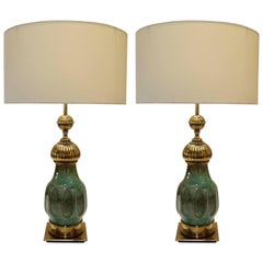 Pair of Esmeralda Craquelure Ceramic and Bronze Table Lamps