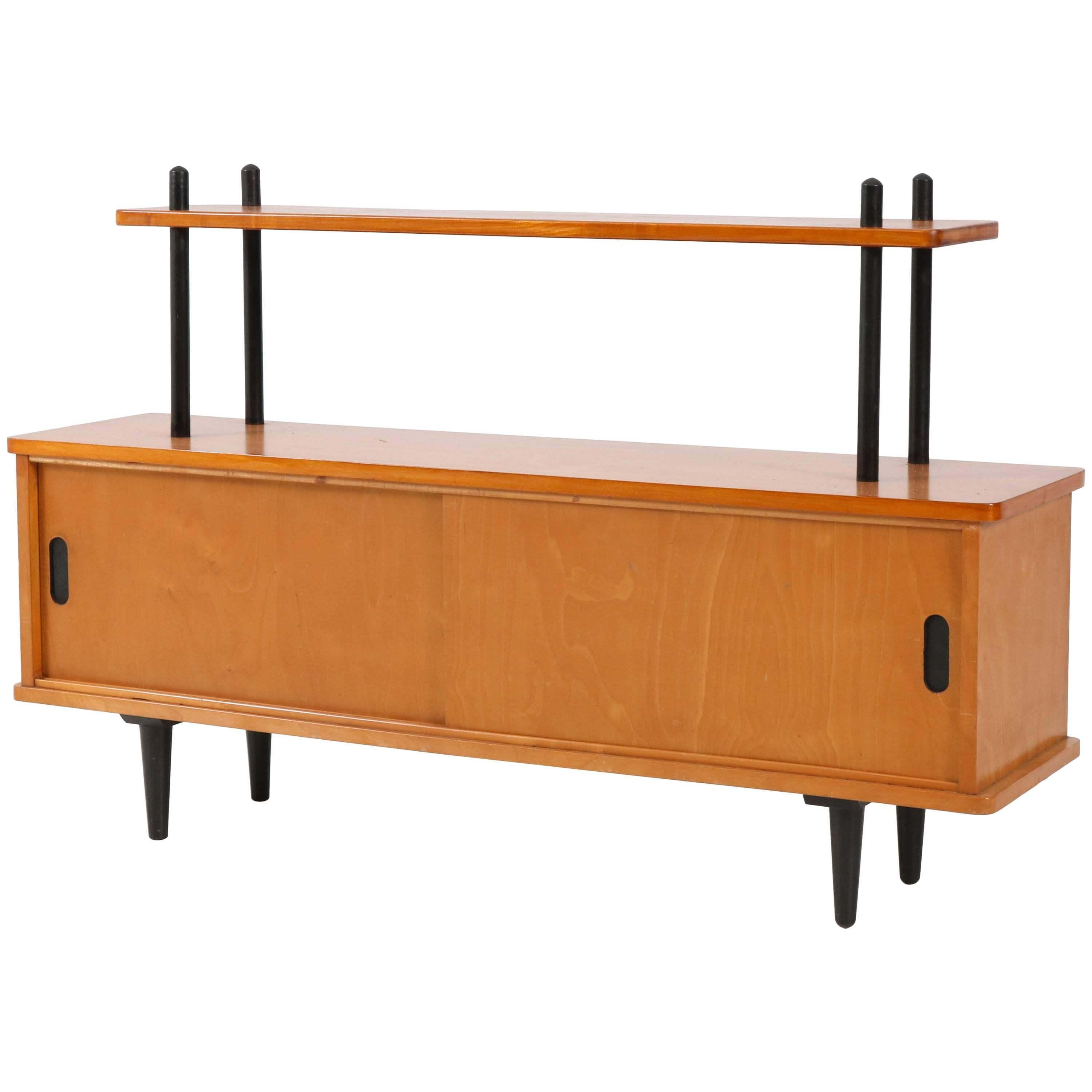 midcentury modern birch bookcase or credenza in the style of lutjens 1950s