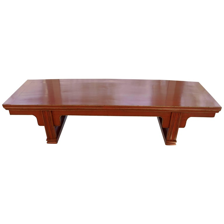 Red Lacquer Bench Chinese Low Table Bench China Elmwood