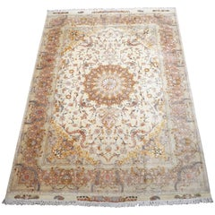 Signed Wool and Silk Persian Tabriz Rug, 60 Raj