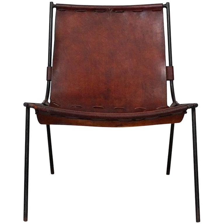 Gordon Keeler Leather and Iron Sling Chair