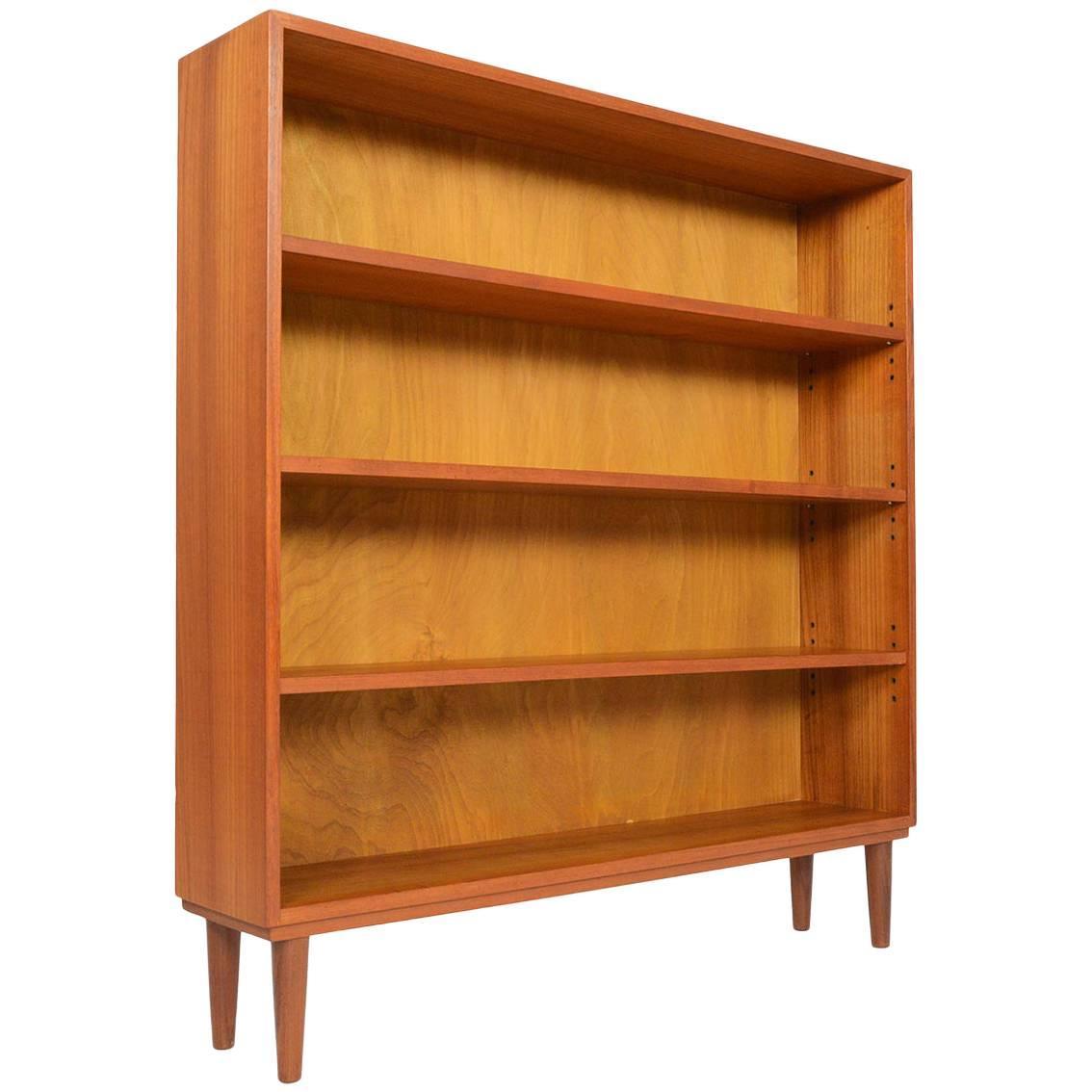 narrow danish modern midcentury bookcase in teak 1