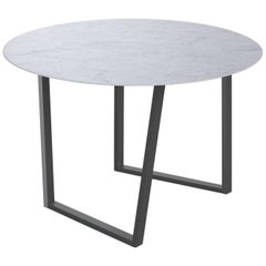 Salvatori Round Dritto Dining Table in Bianco Carrara Marble by Piero Lissoni