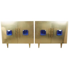 Pair of Midcentury Italian Brass Cabinets by Sandro Petti for Metallarte