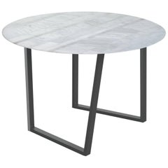Salvatori Round Dritto Dining Table Lithoverde® Bianco Carrara by Piero Lissoni
