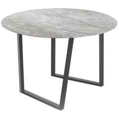 Salvatori Round Dritto Dining Table in Gris du Marais® Marble by Piero Lissoni