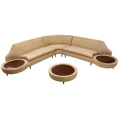 Mid-Century Modern Three-Piece Curved Sofa Sectional Ottoman Side Tables