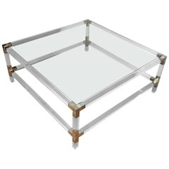 Square Lucite Coffee Table with Chromed Metal Details