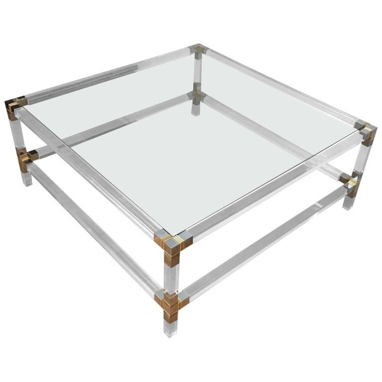 Square Lucite Coffee Table With Chromed Metal Details For Sale At 1stdibs