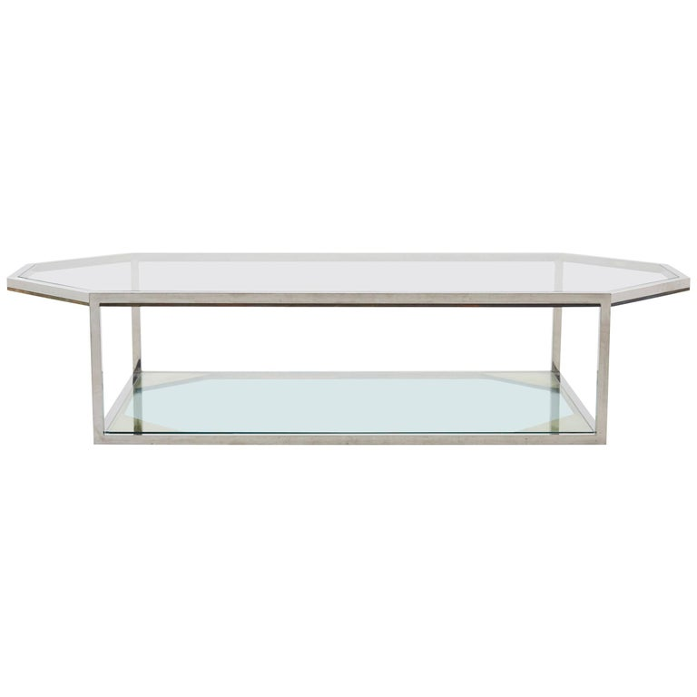 Large Chrome Coffee Table For Sale