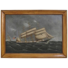American Ship Oil Painting, 19th Century Maritime