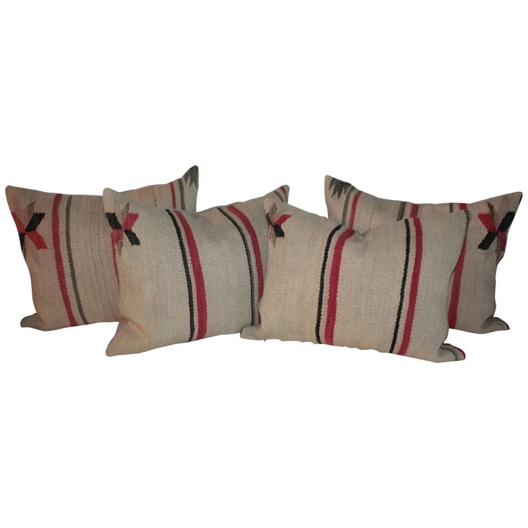 Early Navajo Indian Weaving Saddle Blanket Pillows
