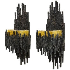 Pair of Midcentury Brutalist Wall Scones with Murano Glass by Marcello Fantoni