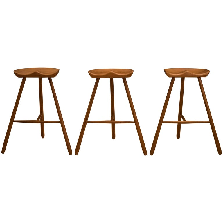 Mogens Lassen Style Three-Legged Bar Stools