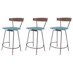 Set of Three Clifford Pascoe Swivel Bar Stools, circa 1950s