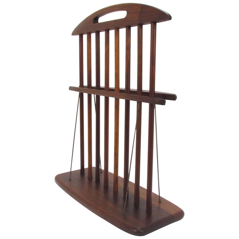 Arthur Umanoff Studio Craft Walnut Magazine Rack