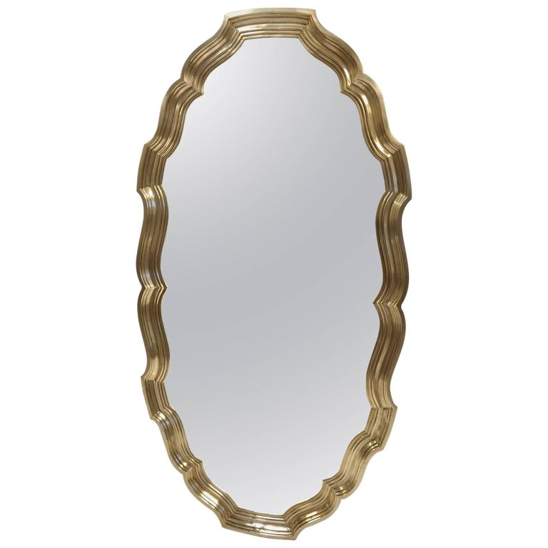Hollywood Regency Brass Scalloped Edge Mirror For Sale