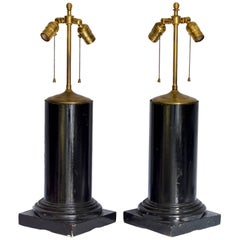 Ebonized Architectural Column Lamps, Pair