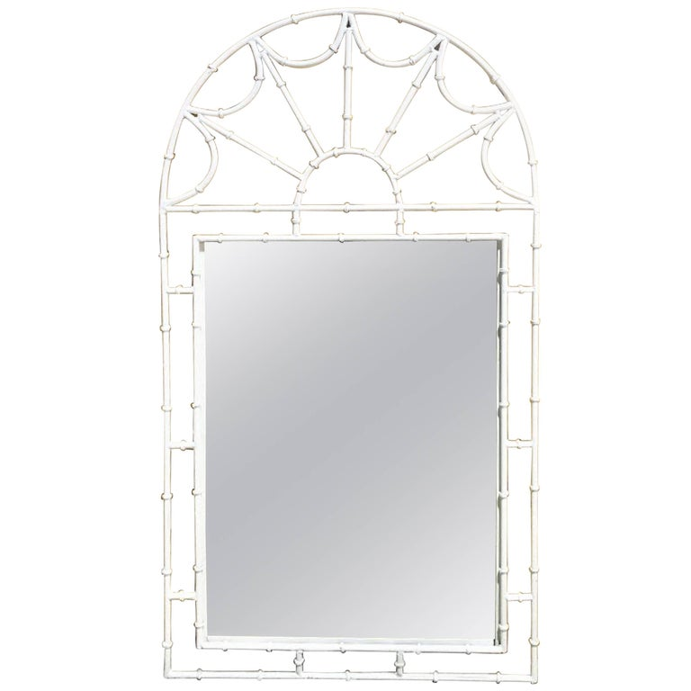 Midcentury Faux Bamboo Iron Mirror in White