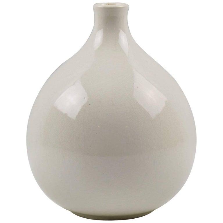 French Saint-Clement Art Deco Crackle Glaze Ceramic Vase