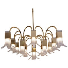 Sciolari Chandelier Cubic Gold-Plated with Glass Petals, circa 1970s, Italian