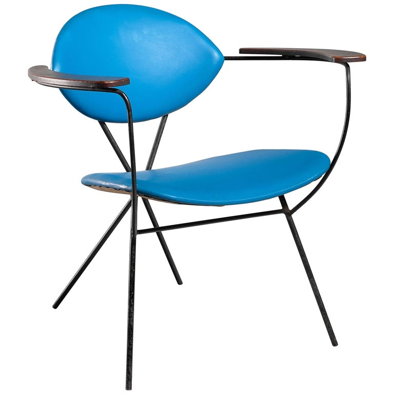 Blue Joseph Cicchelli Chair for Reilly Wolf, USA, 1950s For Sale