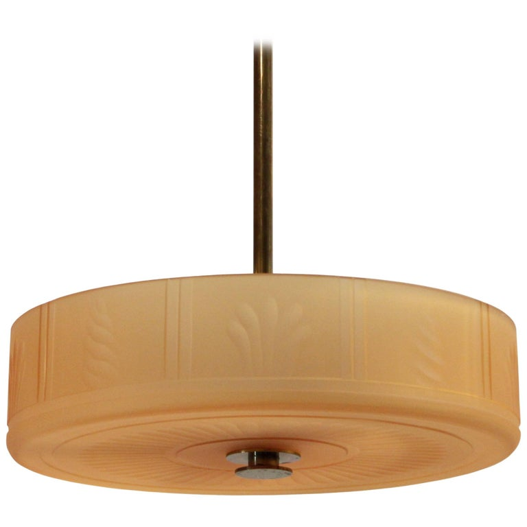 Swedish Art Deco Ceiling Lamp by Orrefors, 1930s For Sale