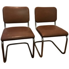 Pair of Thonet Chairs circa 1935-1950 Model B32 Simili Signed Collectors Items